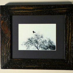 Art and Photo Frames - Black and white photo framed with wormy barn wood, distressed black stain
