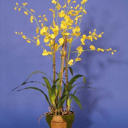 Nearly Natural - Dancing Lady Orchid with Moss Pot - No green thumb,no problem with this colorful Dancing Lady potted orchid. This realistic-looking potted plant is so true-to-life that you may find yourself watering it or touching it to make sure that it is actually made from floral silk.