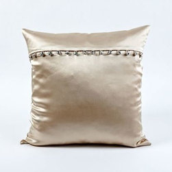 Unique Pillows: Bring Warmth and Beauty to Your Bedroom - Full of sparkle and allure, this pillow features a crystal button closure on the shimmery silk satin. Ann Gish has designed this unique luxury pillow.
