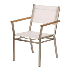 Barlow Tyrie - Barlow Tyrie - Equinox Armchair - TeakArmRest - Pearl - Stacking armchair with stainless steel frame with Textilene seat or Teak Seat, back and powder coated or teak armrests.