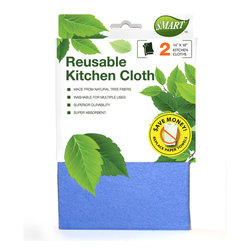 Reusable Kitchen Cloth 2pc - Quickly absorbs any type of spill. Absorbs over 12 times its weight in liquid. Easy to wring out. Works wet or dry. Superior durability. Machine washable for multiple uses.