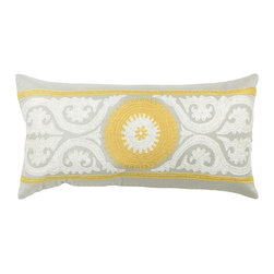 Silver Nest - Garden Gray Down Pillow - Poly Slub Fabric. Embroidered Details. Pillow Cover with Hidden Zipper. Includes Down Pillow insert. Priced individually, must be sold in set of 2.
