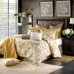 Hampton Hill - Hampton Hill Marcella Duvet Style Comforter Set - The Marcella comforter collection features a beautiful, classic yellow floral pattern that is woven into a jacquard pattern on a white ground. The euro shams feature a woven jacquard pattern that is framed with a yellow flange. The bedskirt features a textured woven jacquard pattern. Three decorative pillows are included to complete the whole look. Comforter and sham face: 100% polyester jacquard, Comforter and sham back: 100% polyester, Comforter filling: 100% polyester, Bedskirt drop: 100% polyester jacquard, Euro Sham face&back: 100% polyester jaquard, Pillow 1 cover: 100% polyester with crewel stitching, filling: 100% polyester, Pillow 2 face: 100% acrylic knit, back: 100% polyester, filling: 100% polyester, Pillow 3 cover: 100% poly jac, filling: 100% polyester