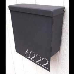 Custom House Number Mailbox No. 1310 Drop Front in Powder Coated Aluminum - Custom House Number Mailbox No. 1310 Drop Front in Powder Coated Aluminum