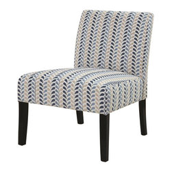 """Coaster - Accent Chair By Coaster - This contemporary armless chair is one of a kind. Designed to provide seating without being over-the-top in stylish adornments, this chair features a smooth frame construction with long tapered legs and clean upholstered cushions. This chair is a great sleek and modern style accent to any home decor creating a fine look of contemporary tailoring. Dimensions : 26"""" x 25"""" x 33""""."""