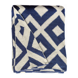 Fab Habitat - Fab Habitat - Throws - Marina-Indigo & Natural - Fab Habitat features knitted cotton throws in vivid colors and patterns. From our renowned Metro collection, these throws are certain to keep you warm from the cold of winter and add a perfect accent to your sofa or bed.