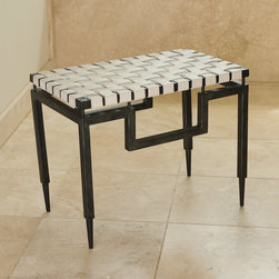 "Global Views - Global Views Iron & Leather Bench - Checkered texture meets sleek sophistication on this modern Global Views bench. Atop an edgy black base, white leather weaves an ultra chic surface. 14""W x 24.25""D x 18.5""H; Cowhide belt leather; Iron with black finish"