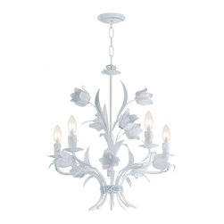 None - Southport 5-light White Floral Chandelier - Adding a touch of beauty and elegance to a room is simple with Southports floral 5-light chandelier. This gorgeous, traditional style chandelier is made of durable iron with a soft white finish and is decorated with delicate tulip shapes.