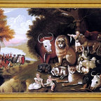 """Edward Hicks-18""""x24"""" Framed Canvas - 18"""" x 24"""" Edward Hicks A Peaceable Kingdom framed premium canvas print reproduced to meet museum quality standards. Our museum quality canvas prints are produced using high-precision print technology for a more accurate reproduction printed on high quality canvas with fade-resistant, archival inks. Our progressive business model allows us to offer works of art to you at the best wholesale pricing, significantly less than art gallery prices, affordable to all. This artwork is hand stretched onto wooden stretcher bars, then mounted into our 3"""" wide gold finish frame with black panel by one of our expert framers. Our framed canvas print comes with hardware, ready to hang on your wall.  We present a comprehensive collection of exceptional canvas art reproductions by Edward Hicks."""