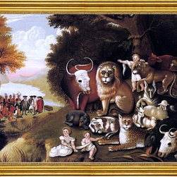 "Edward Hicks-18""x24"" Framed Canvas - 18"" x 24"" Edward Hicks A Peaceable Kingdom framed premium canvas print reproduced to meet museum quality standards. Our museum quality canvas prints are produced using high-precision print technology for a more accurate reproduction printed on high quality canvas with fade-resistant, archival inks. Our progressive business model allows us to offer works of art to you at the best wholesale pricing, significantly less than art gallery prices, affordable to all. This artwork is hand stretched onto wooden stretcher bars, then mounted into our 3"" wide gold finish frame with black panel by one of our expert framers. Our framed canvas print comes with hardware, ready to hang on your wall.  We present a comprehensive collection of exceptional canvas art reproductions by Edward Hicks."