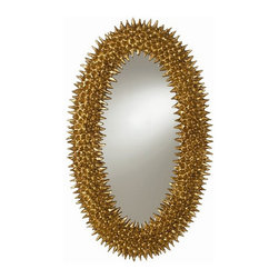 Arteriors Home - Arteriors Home Spore Antiqued Gold Leaf Mirror - Arteriors DD9001 - Arteriors DD9001 - The juxtaposition of the ornate gold finish & the organic podlike texture creates a yin and yang that makes this mirror very compelling. May be hung either horizontal or vertical.Designer: Barry Dixon