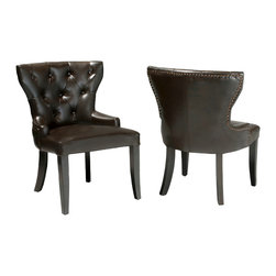 Great Deal Furniture - Kingslee Leather Accent Chairs (Set of 2) - From the studded edges to the espresso-stained hardwood legs, the Kingslee Leather Accent Chairs are the perfect addition to any living room or even dining room space.
