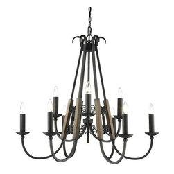 Golden Lighting - Golden Lighting 3281-9 Moreno 9 Light 2 Tier Candle Style Chandelier - Features: