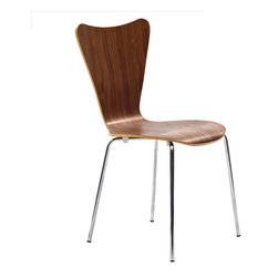 """LexMod - Ernie Dining Side Chair in Walnut - Ernie Dining Side Chair in Walnut - Minimalist in nature though it may be, this seat doesn't skimp on comfort. Its seemingly rigid design, flexes to the contours of the human body, making it a great side chair for homes and businesses alike. Set Includes: One - Ernie Chair Solid Plywood Seat, Stackable, Chrome Legs Overall Product Dimensions: 19.5""""L x 17""""W x 34""""H Seat Dimensions: 16""""L x 18""""H - Mid Century Modern Furniture."""