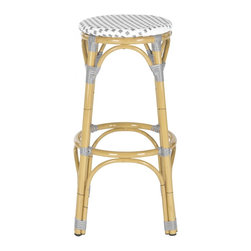 Safavieh - Kipnuk Stool (Indoor/Outdoor) - Grey&White - Raise a glass to country and coastal decorating with the grey and white Kipnuk indoor-outdoor barstool from Safavieh. A colorful addition to a kitchen or patio bar, the pretty Kipnuk is inspired by classic European bistro stools and crafted of white PE wicker and aluminum faux bamboo for easy care.