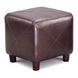 Ottomans Contemporary Faux Leather Cube Ottoman by Coaster - Ottomans Contemporary Faux Leather Cube Ottoman by Coaster