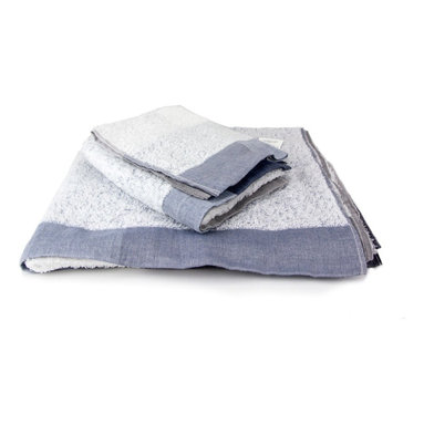 Morihata - Kontex-Palette Towels, Hand Towel - Palette towel has a subtle color-block pattern, 2-inch linen border and a layer of thin, long-looped, terrycloth cotton pile. Made with 85% cotton and 15% linen. Softest towel against your skin and highly absorbent and fast drying.