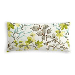 Aqua & Gray Watercolor Floral Custom Lumbar Pillow - The perfect solo statement on a modern chair or bed, the rectangular lines of the Simple Lumbar Pillow are effortlessly chic. We love it in this gray, aqua and spring green watercolor floral. Your room will be awash with color and class.