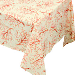 "Enchante Accessories Inc - Raymond Waites Rectangular Table Cloth - 60""x 102"" (Beige/Branches) - Premium quality 100% cotton table linen with finished seamExpertly tailored with high quality cotton linenMachine wash in cold with like colors, colors do not bleedFloral patterns with elegant vintage styleMatching napkins availableElegant and functional, these tablecloths serve to dress a table, and to protect it from scratches. Use on dining room tables, banquet tables and restaurants. We carefully select high-quality fabrics and threads to create every table linen. Made from natural materials and dip-dyed with non-toxic dye, the reactive dyeing process makes the table linens a beautiful and solid color while maintaining their natural softness.These gorgeous floral prints invite lively conversations for brunch, lunch, garden parties and casual dining. Made in India of 100% cotton, in deep colors as shown, these exciting tablecloths are beautifully finished with fine printed elegant patterns.These high quality cotton table linens have a wonderfully vintage feel and are a great way to enhance your dining room setting.The Table cloths come in a variety of patterns and colors. They come packaged in a protective plastic button sealed case."
