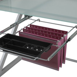 Eurostyle - Hanging File & Pencil Tray-Alum - Heavy powder, epoxy-coated steel frame