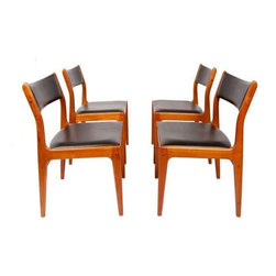 Used Danish Modern Teak Dining Chairs - Set of 4 - Just what you have come to expect from Danish Modern Design - clean, streamlined, and stylish. This set of 4 Danish Modern dining chairs will look great in your Mid-Century Modern dining room. The chairs have their original black seats.