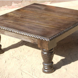 Unique Rustic Solid Wood Square Sofa Coffee Table - Artistic Wooden Square Coffee Table with fine hand carved legs designed by traditional Indian craftsmen and old world tools.Completely handmade and properly seasoned and treated to last for generations. Hand polished with self-prepared stain to maintain the natural beauty of the wood.