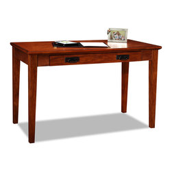 """Leick Furniture - Mission Laptop Desk - Perfect for laptops or to hide away papers or a desktop keyboard, this delicately scaled desk offers abundant organization assistance in just a tiny space. The drop down front presents the keyboard at a comfortable work height while full extension drawer guides offer the full depth of the drawer as useable space.; ball-bearing; full entension drawer guides; drop down drawer front; wire retaining grommet on back; simple assembly; Dimensions: 48""""W x 24""""L x 30""""H"""