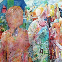 """Peoples Park no.10"" Artwork - A group outside on a bright day. Figurative, architectural and abstract elements are all in the mix."