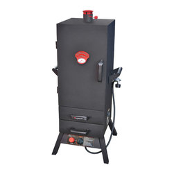"Landmann - 38"" Gas Easy Access 2 Drawer Vertical Smoker - -Our popular vertical 38"" tall smoking chamber offers a large 980 square inch smoking area on 5 chrome-plated cooking racks. Utilizing LP Gas and a rotary ignition, the 16,000 BTU output via our fully adjustable heat control, provides the temperature range and control for most common smoking applications. The adjustable top chimney and side chrome-plated damper vents allow for fine tuning of the heat for optimum temperature control. Made of heavy-duty steel construction, welded cooking chamber and stabilized by wide stance legs, this smoker will provide years of smoking excellence. Our Patent Pending EASY ACCESS drawers allow for quick and safe access to check your water level and replenish the wood supply without opening main smoking chamber door, and losing accumulated heat and smoke. Equipped with large carry handles, this smoker can be easily transported to any outdoor gathering or smoking site.-Heavy steel construction"