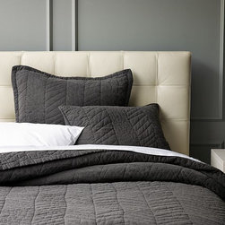 New Herringbone Quilt + Shams - Herringbone, revisited. A hand-drawn interpretation of a traditional herringbone inspired this lightweight quilt's subtle graphic stitching. A special washing process gives the pure cotton voile bedding an incredibly soft feel and a perfectly broken-in look.