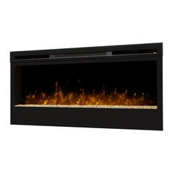 Synergy Wall-Mount Electric Fireplace - Turn down the lights and turn up the fire with the Synergy Wall-Mount Electric Fireplace. A close-to-wall profile, just like a plasma TV. Light shines and reflects off the randomly-sized glass pieces creating an effect that is as alluring as it is contemporary. 100% efficient, producing no harmful particulates or emissions and 90% less carbon dioxide than an average direct vent gas fireplace.