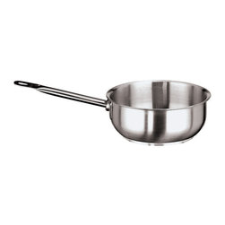 """Paderno World Cuisine - """"Grand Gourmet"""" Stainless-steel 4-1/2-Quart Curved Sautier Pan - This 4-1/2-quart stainless-steel curved saute pan has a height of 3-1/2-inch and a diameter of 10-1/4-inch-inch. The Grand Gourmet series boasts an outer and inner satin polish and a mirror-finish along the edges. Its stainless steel handles are hollow and tubular for an ergonomic shape that also allows for a stay-cool feature. The rounded sides of the stainless steel saucier pan are ideal for making sauces as they allow for easy whisking and swirling. The pan has a stainless steel handle affixed with strong weldings. The line has a sandwich, thermo-radiant bottom (stainless steel/aluminum/stainless steel) that is concave when cold and flat when hot, making it perfect for use on any type of stove, whether gas, electric, glass ceramic or induction. Made in Italy by Paderno. NSF approved. Limited Lifetime Warranty. Lid not included.; Rounded sides make it ideal for making sauces; NSF Approved; Induction ready; Compatible with all heat sources; Lid not included; Weight: 4 lbs; Made in Italy; Dimensions: 3.5""""H x 10.25""""L x 10.25""""W"""