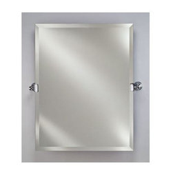 Afina - Radiance Frameless Tilt Wall Mirror (Polished Chrome) - Color: Polished Chrome. Includes two 4.5 in. decorative tilt mounting brackets. Rectangular shape. 1 in. beveled edge. Can be hung vertically. Brackets project 3.25 in. of the wall. Warranty: One year. Brackets made from solid brass. Mirror: 16 in. W x 26 in. H. Mirror w brackets: 20.5 in. W x 26 in. H