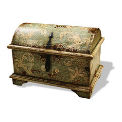 Accessory Chest with Feet, Celeste Distressed with Amaryllis and Scrolls - Accessory Chest with Feet, Celeste Distressed with Amaryllis and Scrolls