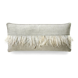 Ostrich Feather Stripe Pillow l - Driftwood - The expected lumbar pillow is enlivened with the whimsical design of the Ostrich Feather Stripe pillow. The soft natural coloration of the pillow is accented with a graceful fringe of ostrich feather, in hues of gentle ivory and warm beige, that is distinctive yet not overly embellished. Present the pillow upon a cozy loveseat, an occasional chair, or a reclaimed wood bench in a foyer for an accent that charms.