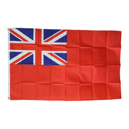 Flagline - United Kingdom Red Ensign (current) - 3'X5' Polyester Flag - The best known of the British Maritime flags, or Ensigns, which were formed by placing the Union flag in the canton of another flag having a field of white, blue or red. Our 3' x 5' United Kingdom Red Ensign flag includes vivid colors and an accurate design screen-printed on a durable 100% polyester material. The flag features a white fabric header with two brass grommets on the 3' side for easy display. The flag is best used indoors but can withstand occasional outdoor use. The authentic design is based on information from official sources.