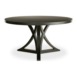 Floyd Round Dining Table - Simply stunning, the Floyd Dining Table employs unique curved x-legs for depth and character. The round table's exceptional design lends transitional appeal to the dining room or kitchen. This wood furnishing is offered in a 48 inch version or optional 54 inch version. Shown in Black. Our Cottage House Collection is a wonderful blend of antique cottage style furniture that beautifully interpret reproductions through a labour of passion and quality. Using a multi-layered hand lacquering and antiquing process, these heirloom quality furniture pieces are designed to last generations. What makes this collection stand out from the rest is its great attention to detail and solid hardwood construction. The grain patterns, knots and color variations give each piece a unique charm. Hand applied distress markings artistically mimic normal wear closely representing the original antique piece. The ideal solution to bring an eclectic, old world feeling into today's modern decor!