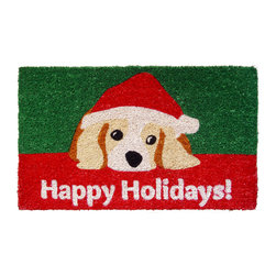 Entryways - Dog Lovers' Holiday Hand Woven Coconut Fiber Doormat - Designed by an artist, this distinctive mat is a work of art that will add a welcoming touch to any home. It is from Entryways' handmade collection and meets the industry's highest standards. This decorative mat is handsomely hand woven and hand stenciled.
