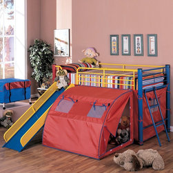 Coaster Fine Furniture 7239 Twin Bunk Bed with Slide and Tent - Have more than one toddler at home? Check out this twin bunk bed that also serves as a play set. Perfect for boys or girls, it features a slide and tent for playtime, and side rails at the top prevent any spills.