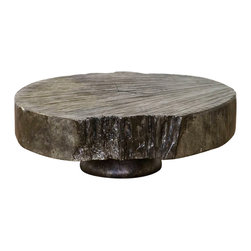 Madera Home - Tirian Rustic Gray Live Edge Coffee Table - This collection pays homage to the origin of all our pieces. It highlights the natural beauty of 200 year old antique Elm wood, accented in a variety of colors. From sleek tables, to unusual tree stumps for display or seating, the result is something organic and unique, just like the ancient trees from which they were crafted.