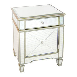 Worlds Away - Worlds Away: Mirrored Nightstand Silver Leaf - Worlds Away: Mirrored Nightstand Silver Leaf