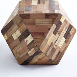 MULTIFARIOUS TABLE - NEW - Show the many sides of your personality with this fun and functional Table. Geometric and modern, the naturally blended recycled wood blocks deliver a clean, yet rustic feel to any space. This versatile design is not only aesthetically pleasing; it is completely practical as well. A unique seating solution as well for adults and children alike.