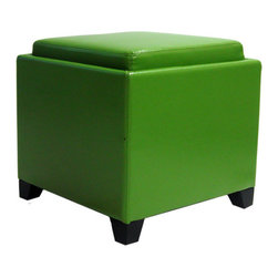 Armen Living - Armen Living Contemporary Storage Ottoman with Tray in Green - Rest a tray of cocktails or stow blankets and throws inside this stylish storage ottoman wrapped in plush bonded leather for lasting appeal.
