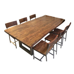 Reclaimed Wood Dining Table, Table and 6 Chairs - Reclaimed Wood Dining Table features natural materials, unique textures, sleek clean lines, and in the dining room you can't go wrong with this fabulous dining table. Inspired by the feisty industrial factory movement of the early 20th-century worktable our contemporary organic dining table provides a bold backdrop for entertaining.
