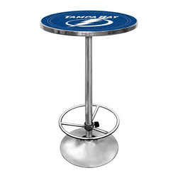 Trademark Global - Round Pub Table w NHL Tampa Bay Lightning Log - Bold Tampa Bay Lightning blue and white highlight this hockey-themed pub table. Retro-inspired table has strong steel base finished with chrome accents. Officially licensed by the NHL, it also has an everlasting acrylic top for heavy-duty use. Footrest included. Great for gifts and recreation decor. 0.125 in. Scratch resistant UV protective acrylic top. Full color printed logo is protected by the acrylic top. Table top is trimmed with chrome plated banding. 1 in. Thick solid wood table top. Chrome base with foot rest and adjustable levelers. 28 in. L x 28 in. W x 42 in. H (72 lbs.)This National Hockey League officially licensed pub table is the perfect for your game room on Hockey Night.