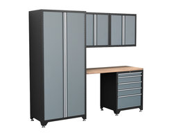 Newage Products - NewAge Products Pro Series 5-Piece Grey Cabinetry Set with Locker - The Pro Series 5 Piece Set is an ideal storage solution for any workshop or garage. For a clean,unique,and fresh new look the Pro Series delivers. Relax and unwind while working on a project using the Maple block work surface.
