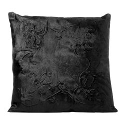 Fandindo - South American Hair-On Cowhide Black Engraved Pillow (Insert not included) - luxurious hair-on cowhide with elegant engraved motif.