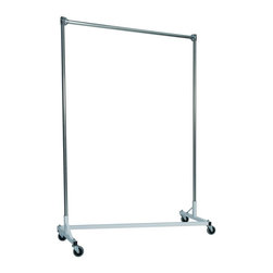 Z Racks - Heavy Duty Z-Rack Garment Rack w 84 in. Uprig - Base Color: White/Off-White. 500lb capacity. 14 gauge, 60 in. Long steel base (Environmentally safe powder coated finish ). 16 gauge, 84 in. upright bars and hang rail. 1 5/16 outside diameter upright bars and hang rail. Grey non-marking soft rubber with TP center 4 in. casters . Made in the USA. 63 in. L x 23 in. W x 91 in. HWith 82 in. of vertical hang space, and 58 in. of horizontal space, this Z- rack boasts the extra room you need to expand. Because it is extra-tall, our Z-Rack is used by bridal shops, formal wear stores, church choirs and costumers alike. But that doesn�۪t mean it wouldn�۪t be perfect for your organizational needs. With a five foot base, seven foot uprights, and 500 lbs in load capacity, we think you�۪ll find it to be an all-purpose addition to any garage, basement or storage unit.