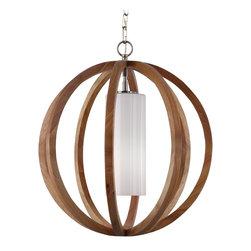 Murray Feiss - Murray Feiss F2953/1LW/BS Allier 1 Bulb Light Wood / Brushed Steel Chandelier - Murray Feiss F2953/1LW/BS Allier 1 Bulb Light Wood / Brushed Steel Chandelier