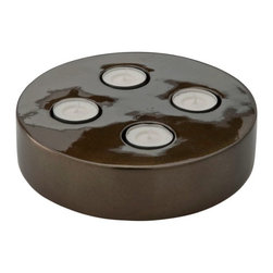 Kouboo - Tea Light Holder in Lacquerware, Bronze Color - This tea light holder is carefully hand crafted of lacquerware and embellished with a bronze metallic finish. Constructed of sturdy wood, this lacquerware tea light's deep, rich finish make it a beautiful coordinating piece to complement any home decor style. Show off up to four tea lights and add a romantic feel to a table, mantle or use as the perfect addition to a dinner party tablescape.
